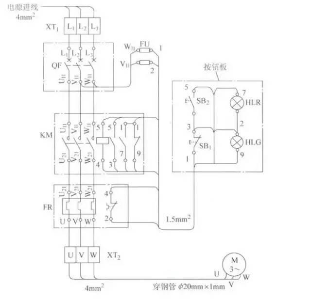 三相交流异步电动机控制电路接线图的识读