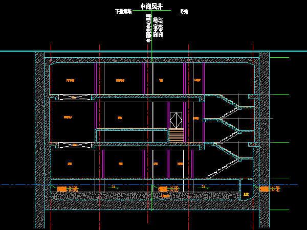 轨道交通地铁工程双柱三跨现浇箱型结构地下三层中间风井设计图93张CAD(附计算书7份)