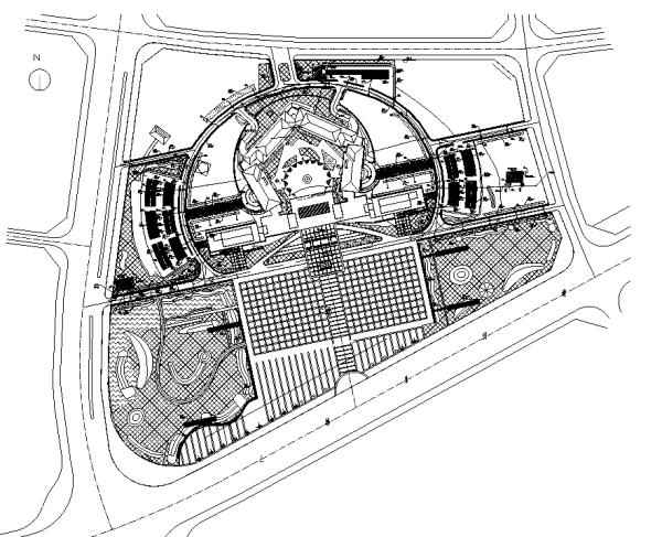 [合集]海绵城市办公空间景观设计施工图(3套)-商务中心平面图