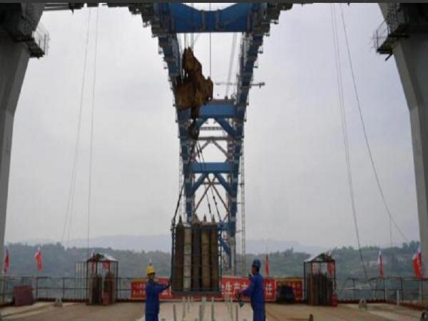 """世界最大跨度钢箱拱桥""""成贵高铁金沙江公铁两用大桥""""主拱合龙_3"""