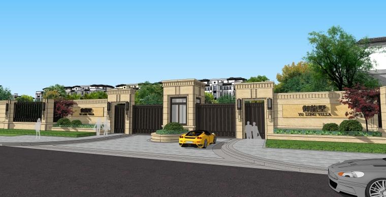 小型新中式居住區景觀su模型