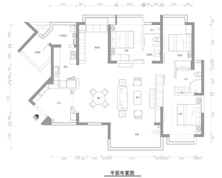 [成都]仁和春天国际花园170㎡混搭风住宅设计施工图