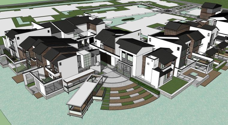 中式民宿度假酒店建筑设计模型