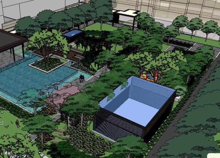 现代亭su模型资料下载-[景观SU模型]现代住宅区宅间绿地庭院景观su模型