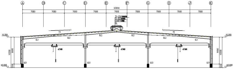 63×180门式刚架厂房施工图(CAD,18张)_2