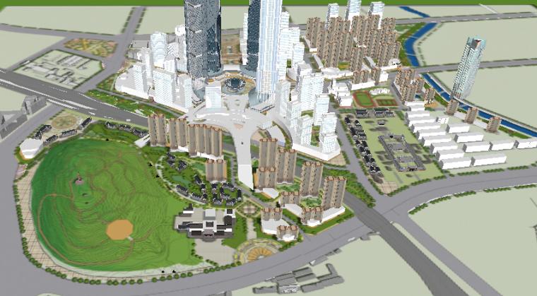 办公住宅区一体化城市设计方案sketchup模型-办公住宅区一体化城市设计3