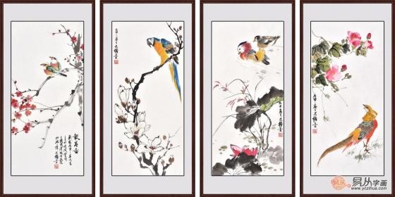 一花一鸟一世界。王文强的养生体现在对绘画的创新上。他采用四条屏的方式来展现春天的魅力绚彩。第一幅图,是梅花和喜鹊,梅花高洁而坚强,寓意吉祥,如意。第二幅图是梨花和鹦鹉组合,也是把鹦鹉的这种喜气传达给大家,有吉祥的美好祝福。第三幅图,是鸳鸯和荷花,荷花是纯洁、美好的象征,是吉祥如意的代表,鸳鸯寓意着家庭美满、幸福。第四幅图则是黄鹂和牡丹,牡丹是富贵、平安的象征。黄鹂也是吉祥、如意的代表,这幅图优雅而大气,展现了新春愉悦、幸福美好的征兆四幅图同一个主题,不同的方面进行刻画,将绘画中的继承和创新发挥地更加地