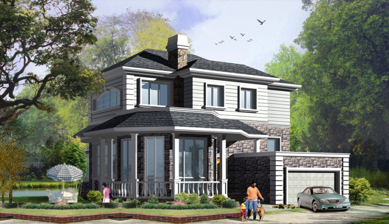 农村二层别墅盖房设计案例效果图-别墅10