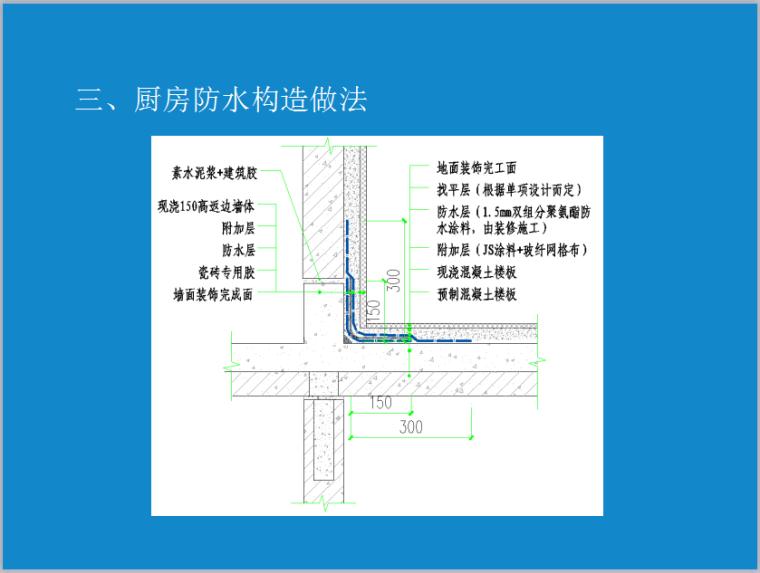 建筑防水节点介绍-厨房防水构造做法