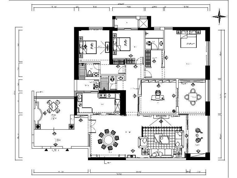 一套完整的欧式风格三居室设计施工图