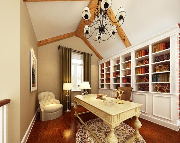 美式-复地爱伦坡别墅室内设计方案图(含效果图,施工图)-书房效果图