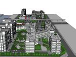 办公、居住综合区规划方案设计(SU模型)
