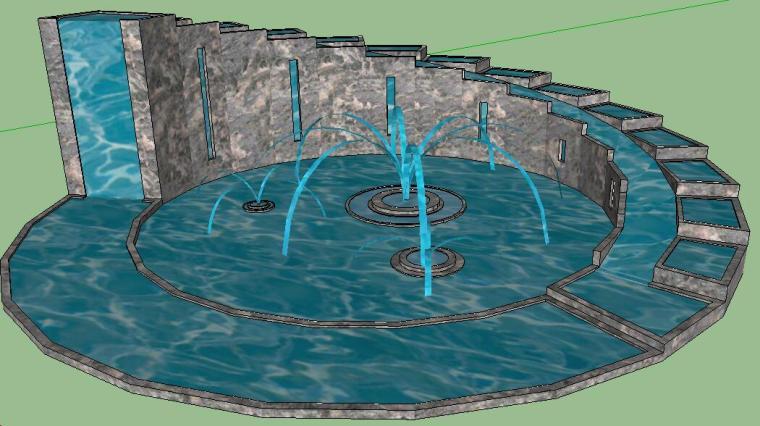 [景观小品]大型水景喷泉SU模型.skp