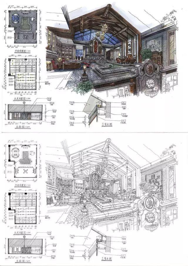 室内手绘|室内设计手绘马克笔上色快题分析图解_46