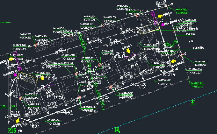 科创广场岩土工程勘察报告-勘钻点平面布置图