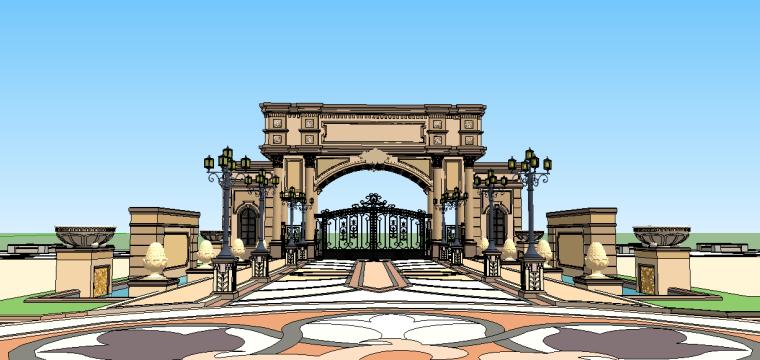 新古典主义居住区景观模型 3