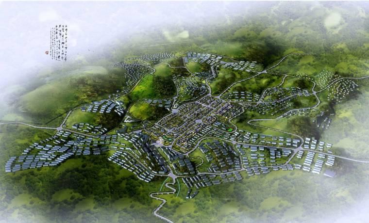 [重庆]丰都旅游休闲度假小镇规划设计(巴渝风情)-旅游休闲度假小镇规划设计——整体鸟瞰图