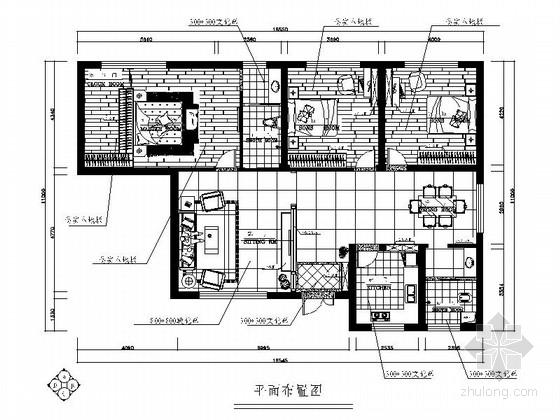 简洁优雅现代风格三居室装修施工图(含效果图)