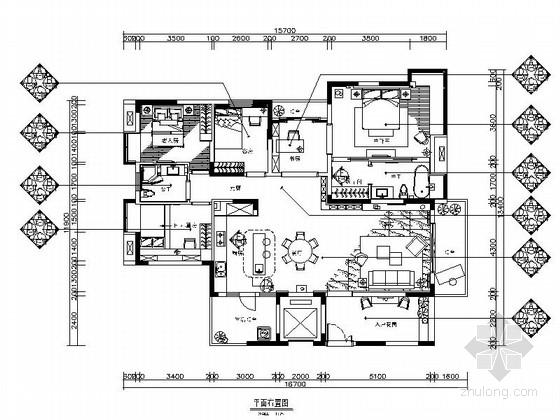 [惠州]新中式温馨三居室家装CAD施工图(含效果图)