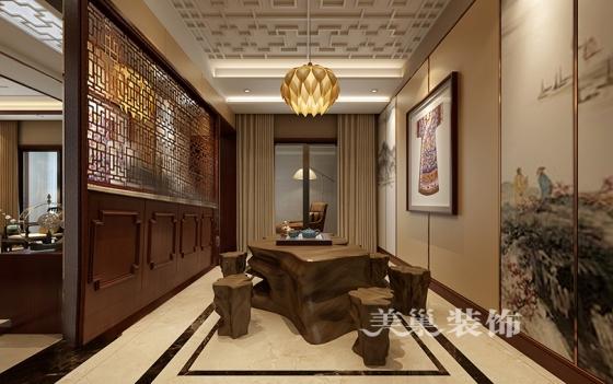 顶4室3厅3卫装修样板间新中式风格案例——茶室布局效果图德宝方