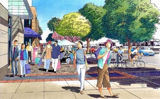 商业街手绘图