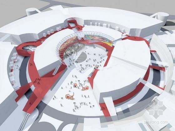 [福建]多层双圆环性商业建筑设计方案文本(知名设计院)-多层双圆环性商业建筑设计效果图