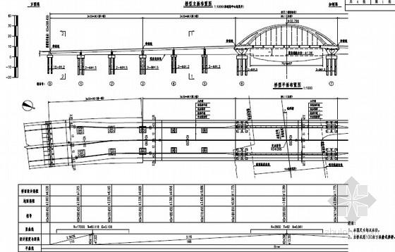 [浙江]100米下承叠式拱桥主桥预应力等高变高连续梁引桥及接线路设计图312张