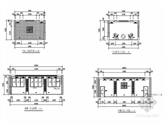 [毕业设计]中式风情度假酒店设计装修施工图台球厅立面图