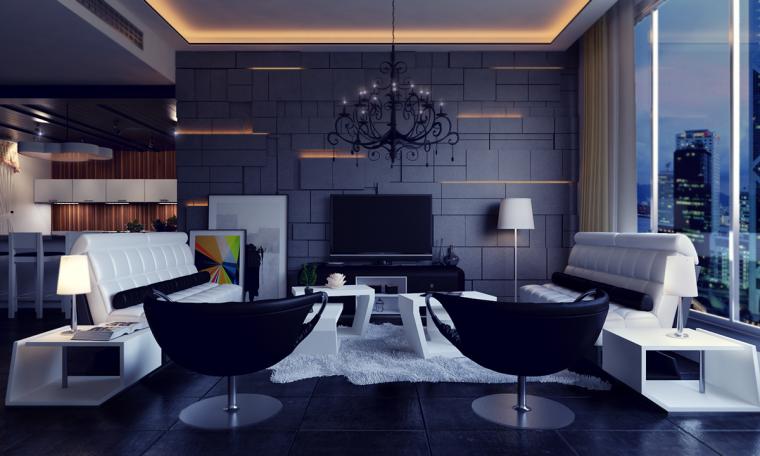 又酷又简洁的现代客厅_21