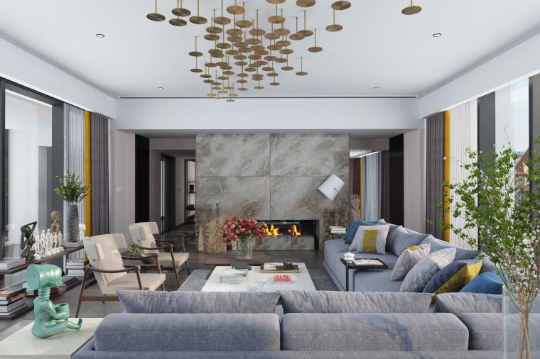 静逸|现代小清新客厅设计3D模型(附效果图)