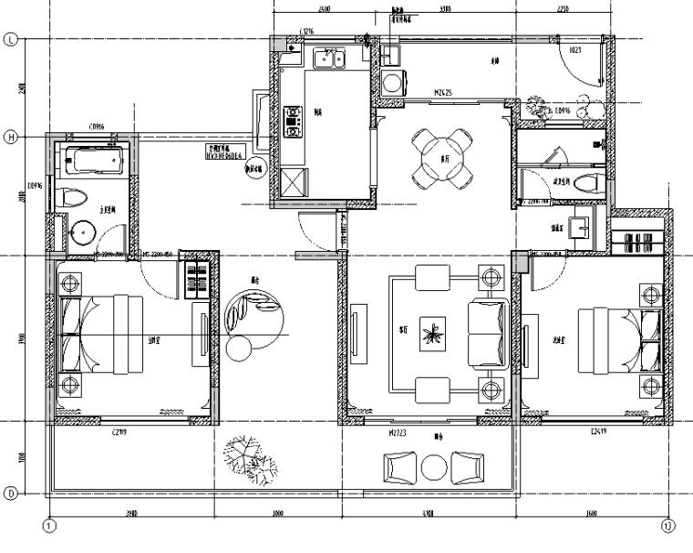 上海绿地启东项目洋房E户型住宅设计施工图(附效果图+软装方案)