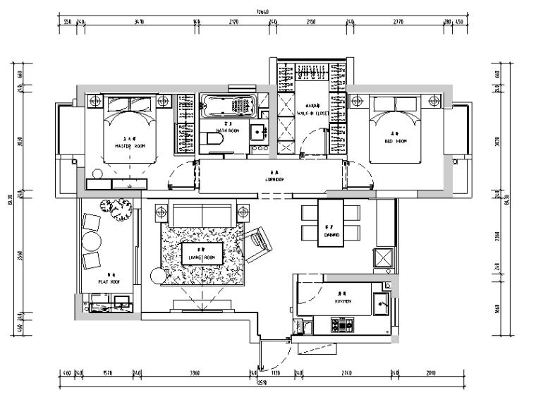 白马山庄现代样板间设计施工图(附效果图)