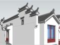 中式风格徽派联排别墅住宅sketchup模型