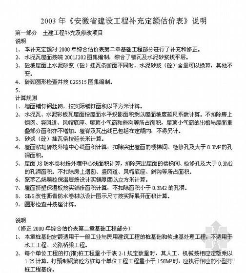 2003年《安徽省建设工程补充定额估价表》说明