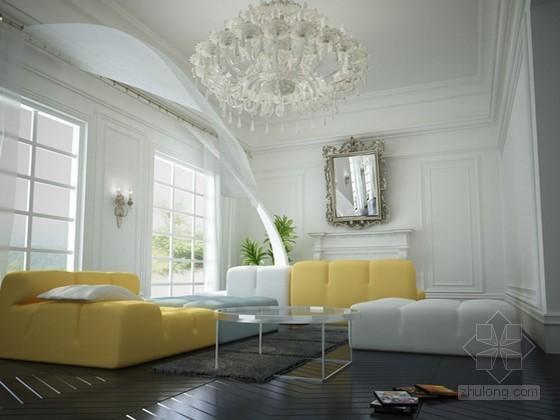 清爽北欧客厅装修效果图3D模型