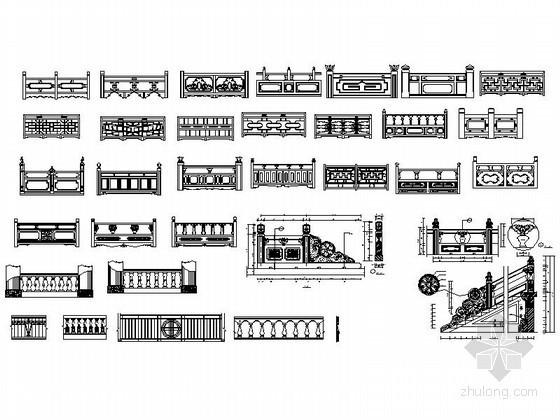 各式装饰品及楼梯栏杆CAD图块下载