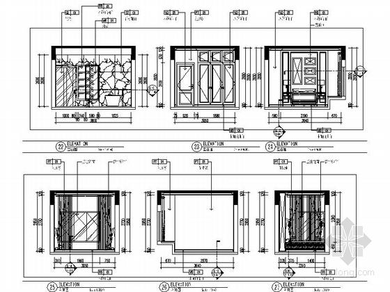 [原创]知名地产商清新别致四居室样板房施工图(含效果图)-[原创]知名地产商清新别致四居室样板房施工图立面图
