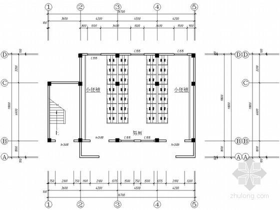 两层框架结构中学厕所结构施工图(含建筑图)
