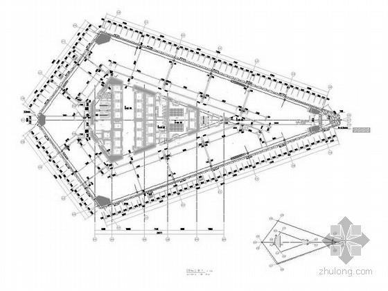 超高层核心筒结构塔楼办公大厦建筑平面图