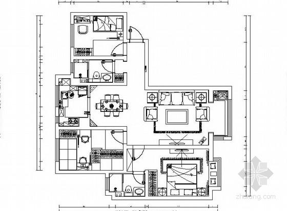 [石家庄]现代温馨88平米三室两厅住宅CAD施工图