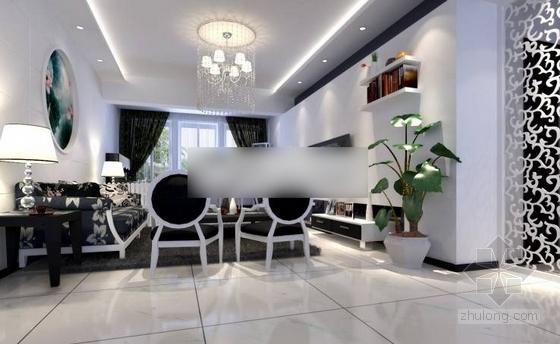 黑白经典三居室装修施工图(含效果图) 效果图
