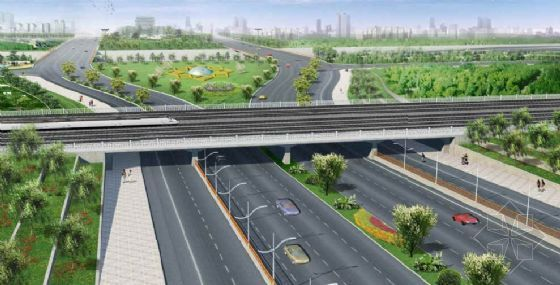 南中轴路下穿京山铁路框架桥效果图