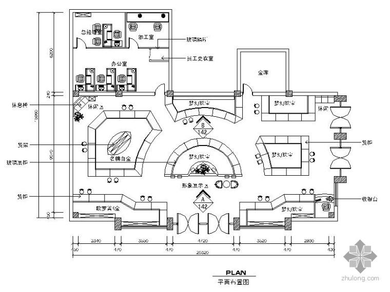 某珠宝店店铺室内装饰设计图