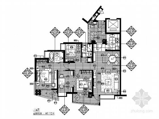 [南京]某四室两厅两卫样板房施工图