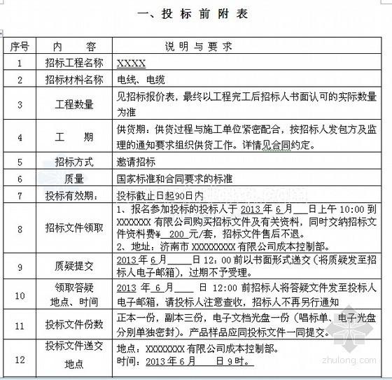 [济南]某项目安装部分电线电缆采购招标文件