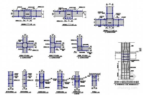 实验楼墙体及柱子节点大样图
