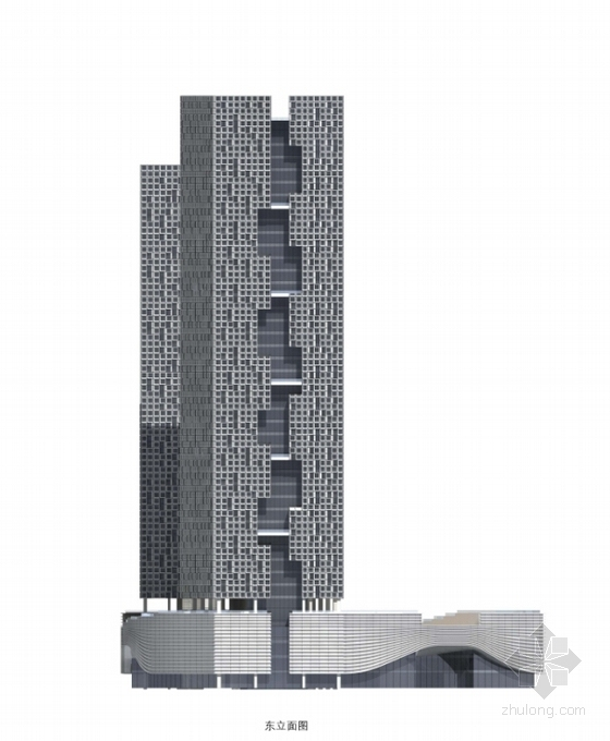 现代风格超高层知名企业办公楼立面图