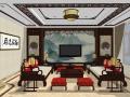 传统中式风格样板间客餐厅SU模型