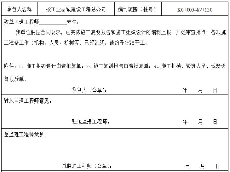 农村公路改造工程合同段开工报告示例表格