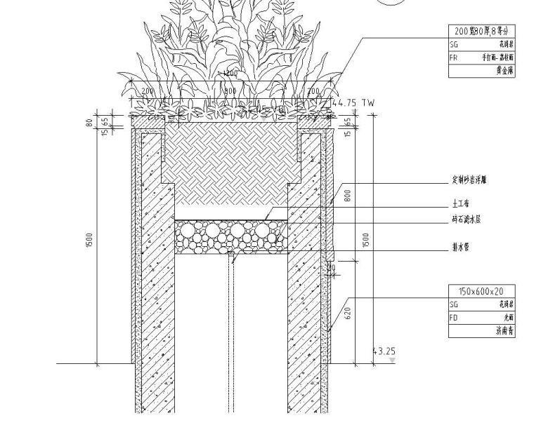 剖面图一-特色精品景观墙详图设计 钢筋混凝土结构